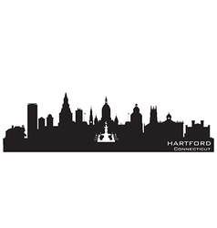 Hartford Connecticut skyline Detailed silhouette vector