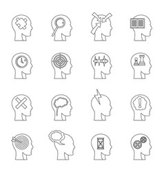 Head logos icons set outline style vector