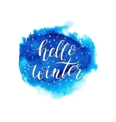 Hello winter text on blue watercolor splash vector
