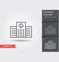 hospital line icon with editable stroke vector image