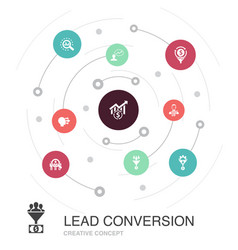 Lead conversion colored circle concept with simple vector