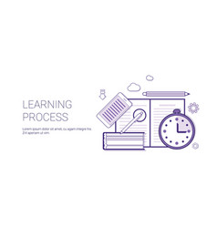 learning process education concept banner with vector image