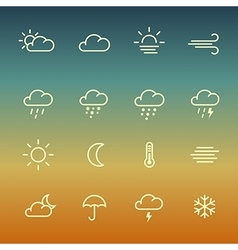 Lines weather forcast Icon set on gradient vector
