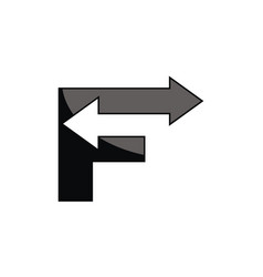 logo f with arrow vector image