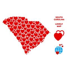 Love south carolina state map mosaic of vector