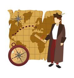 Man christopher with compass and global map vector