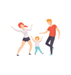 Mom dad and son dancing boy having fun with his vector