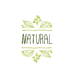 Natural product label on white background vector image