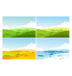 Nature field landscape in four seasons set vector