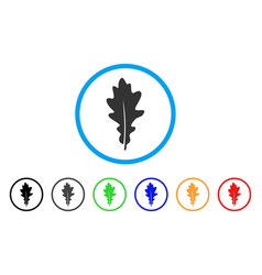 oak leaf rounded icon vector image