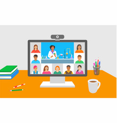 online education chemistry class teleconference vector image