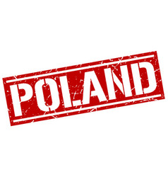 Poland red square stamp vector