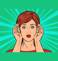 pop art woman listening vector image