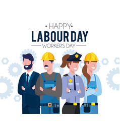 Professional people to labour day holiday vector