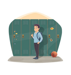 Pupil port locker with school bag vector