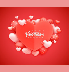 realistic 3d colorful red and white romantic vector image