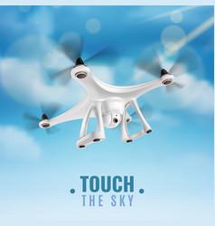 Realistic drone in sky vector