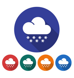 round icon of snowfall flat style with long vector image