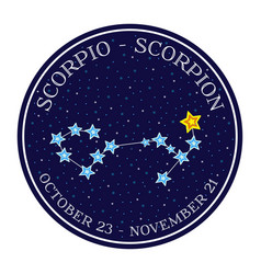 Scorpion zodiac constellation in space round icon vector