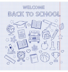 Scrap set Back to school on the notebook sheet vector image