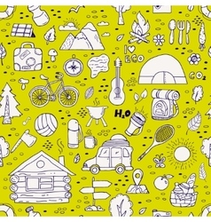 seamless pattern camping equipment symbols vector image