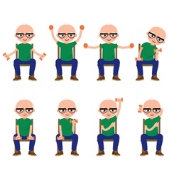 Senior man doing exercises with dumbbells vector