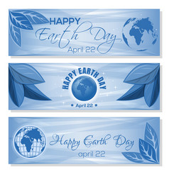 Set blue banners for earth day april 22 vector