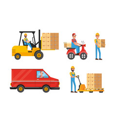 set delivery men with transport and boxes vector image