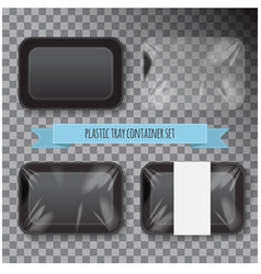 Set of black rectangle styrofoam plastic food tray vector