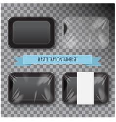 set of black rectangle styrofoam plastic food tray vector image