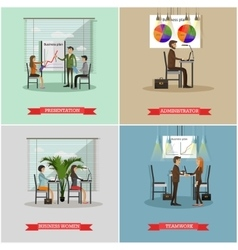 set of office interior banners in flat vector image