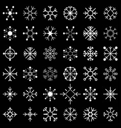 Set of snow flakes black vector