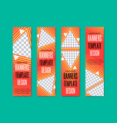 Set of vertical web banners with triangular vector