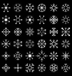 Set snow flakes black vector