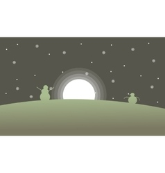 Snowman with moon scenery at night vector