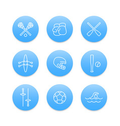 sports and games line icons on blue round shapes vector image
