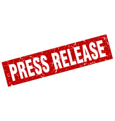 Square grunge red press release stamp vector