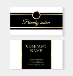 stylish beauty salon template business card black vector image