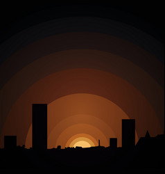 sunset in urban town vector image