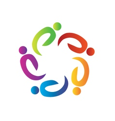 Teamwork charity people logo vector image
