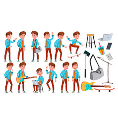 Teen boy poses set adult people casual vector