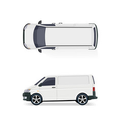 the cargo minibus side view and top view vector image