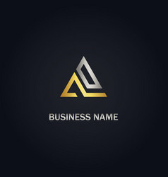 triangle shape line gold logo vector image