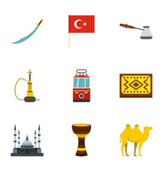 Turkey equipment icons set flat style vector