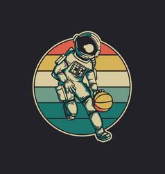 Vintage design astronaut playing basketball retro vector