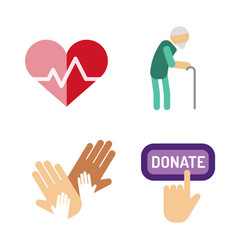 volunteer icons charity donation set vector image