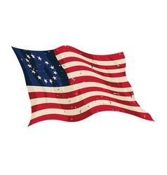 Waving aged betsy ross flag vector