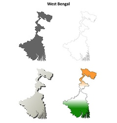 West Bengal blank outline map set vector image
