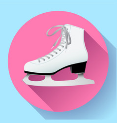 white classic ice skates icon on pink vector image