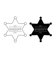 Wild west sheriff star Contour black vector image
